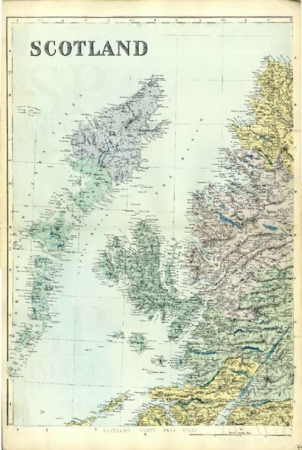 1883 Antique Map SCOTLAND NW Hebrides SKYE Highlands HOUSES Farms RAILWAY Inns